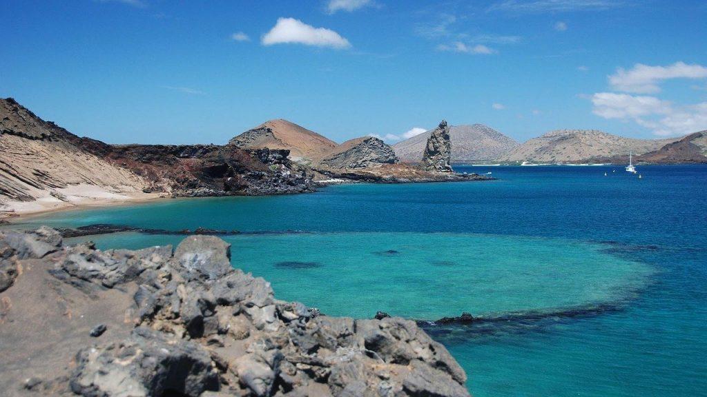 Galapagos Island Lava Rock and Ocean